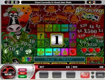 Apocalypse Cow is a three reel, one payline, and one coin slot machine.  This is another new Microgaming version of the typical and traditional UK AWP slot  machine or also known as a Pub Fruit machine.