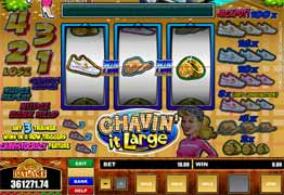 Chavin' it Large is a three reel, one payline, and one coin slot machine. Chavin' it Large has the Chav-istocracy bonus game and multiple Nudge and Hold features.