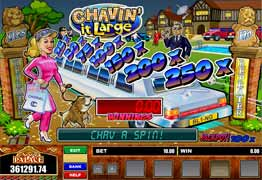 Chavin' it Large is a three reel, one payline, and one coin slot machine