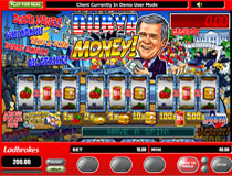 Dubya Money is a three reel, one payline, and one coin slot machine.  This fruit machine is loaded with bonus games and extra hidden features!!  Only those in the UK can appreciate the humor of this slot, which is themed around none other then George Bush himself.
