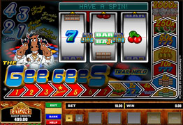 The Gee Gees is a three reel, one payline, and one coin slot machine.  You can win up to 2000x multiplier and additional prizes with the Disco Dancefloor Bonus Game.
