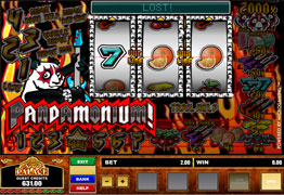 Pandamonium is a three reel, one payline, and one coin slot machine