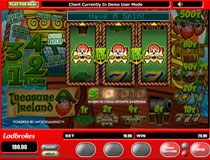 "Treasure Ireland is a three reel, one payline, and one coin slot machine.  This Microgaming AWP slot (Pub Fruit) machine is sure to thrill anyone wishing to have the ""Luck Of The Irish""!"
